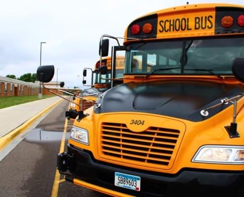 Windscreen of school bus